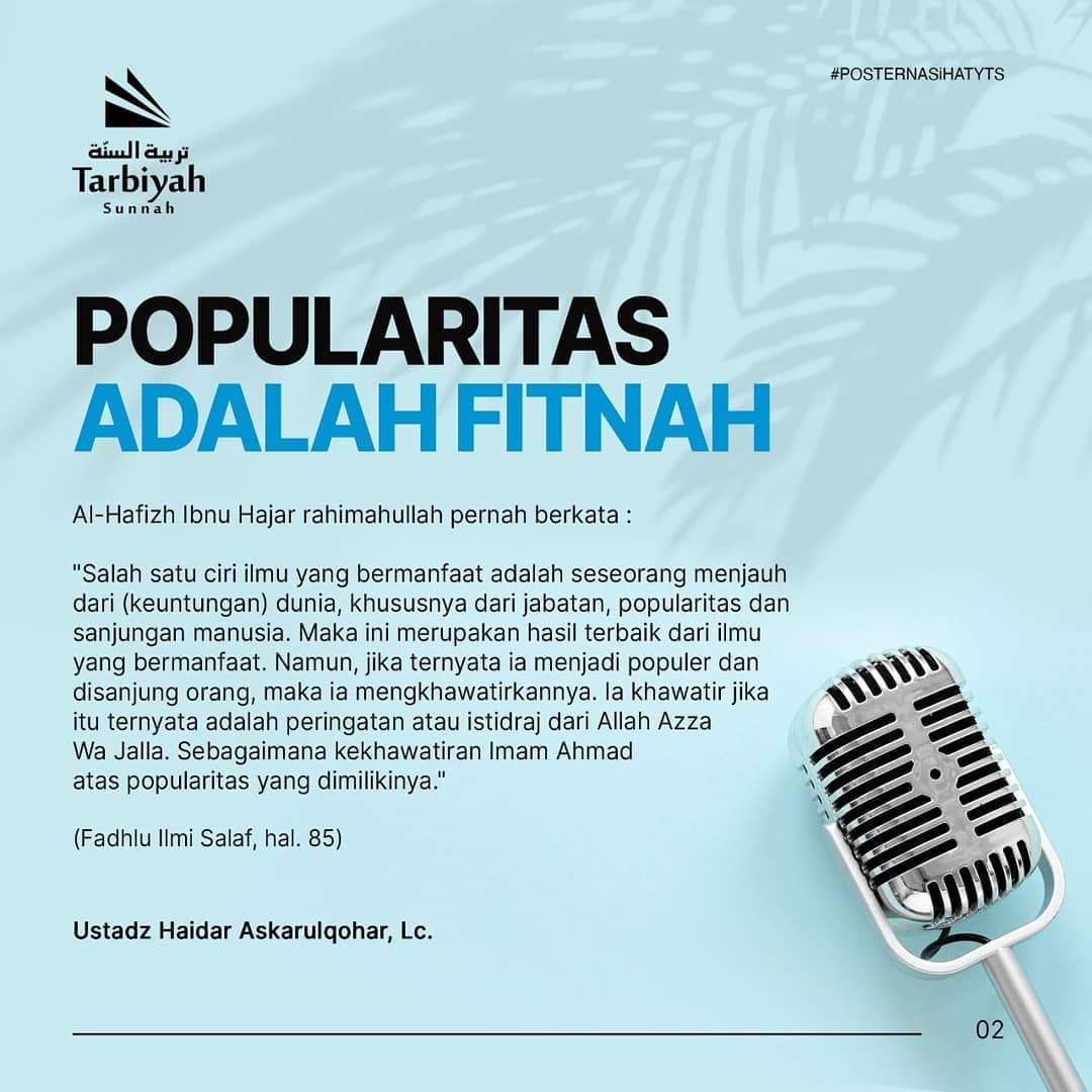 Popularitas adalah Fitnah – Poster Nasihat
